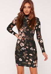Missguided Floral High Neck Long Sleeve Bodycon Dress Black
