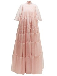 Rochas Tiered Silk Organza Gown Light Pink