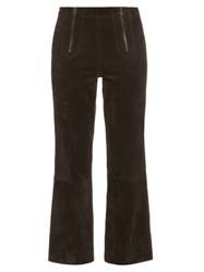 Mih Jeans Arrow Suede Cropped Trousers Black