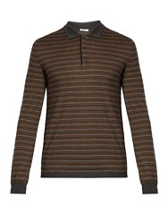 Boglioli Long Sleeved Striped Wool Blend Polo Shirt Grey Multi