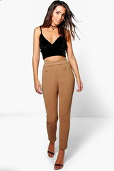 Boohoo High Waist Crepe Skinny Stretch Trousers Camel