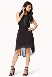 Forever 21 Pleated High Low Dress Black