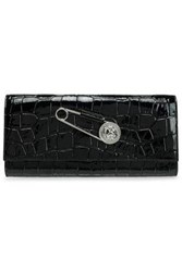 Versus By Versace Embellished Croc Effect Leather Clutch Black
