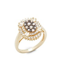 Bh Multi Color Corp. Brown And White Diamond 14K Yellow Gold Ring