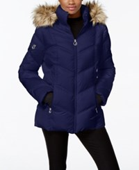 Nautica Faux Fur Trim Hooded Puffer Coat Marine