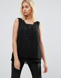 B.Young Lace Hem Sleevless Top Black
