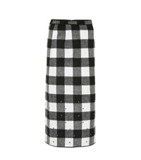 N 21 Checked Wool Blend Midi Skirt Black