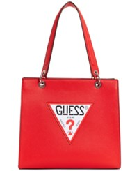 Guess Varsity Pop Shopper Small Tote Red