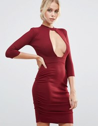 Daisy Street Plunge Front Dress With Choker Neck Wine Red