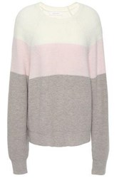 Duffy Woman Color Block Wool Blend Sweater Taupe