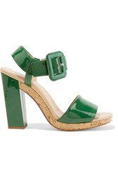 Roger Vivier Patent Leather Sandals Forest Green