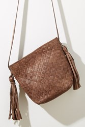 Anthropologie Tasselled Woven Leather Bucket Bag Taupe