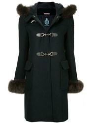 Guild Prime Fur Collar Double Breasted Coat Blue