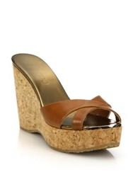 Jimmy Choo Perfume Leather And Cork Platform Wedge Sandals Canyon Black