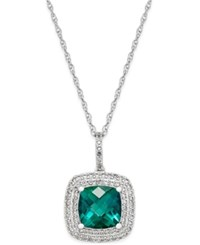Macy's Lab Created Emerald 1 1 2 Ct. T.W. And White Sapphire 1 3 Ct. T.W. Pendant Necklace In Sterling Silver