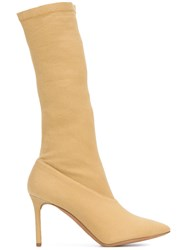 Yeezy Pointed Toe Boots Women Cotton Leather 35 Yellow Orange