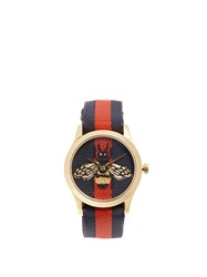 Gucci G Timeless Web Striped Watch Gold