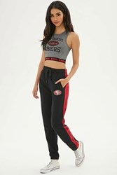 Forever 21 Nfl 49Ers Fleece Sweatpants Black Red