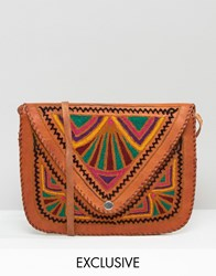 Reclaimed Vintage Embroidered Leather Saddle Bag Tan