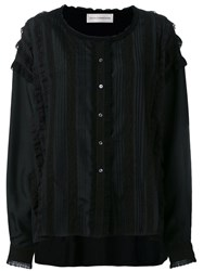 Faith Connexion Lace Detail Collarless Shirt Black