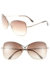 Tom Ford 'Colette' 63Mm Sunglasses Shiny Rose Gold Dark Brown