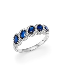 Bloomingdale's Sapphire Oval And Diamond Band In 14K White Gold Blue White