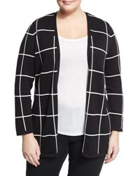 Vince Camuto Windowpane Open Front Cardigan Black