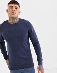 Only And Sons Crew Neck Jumper In Washed Navy