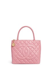 Vintage Chanel Medallion Quilted Caviar Leather Tote Pink