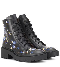 Kenzo Pike Embroidered Leather Boots Black
