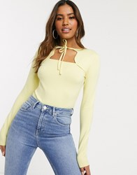 Na Kd Cut Out Long Sleeve Body In Pale Yellow