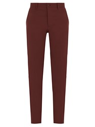 Bottega Veneta Straight Leg Cotton Blend Chino Trousers Burgundy