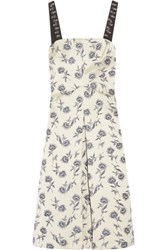 Tory Burch Grosgrain Trimmed Linen Blend Floral Jacquard Dress Ivory