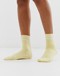 Monki Ribbed Sporty Socks With Stripe In Yellow