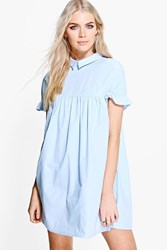 Boohoo Ruffle Sleeve Shirt Dress Sky