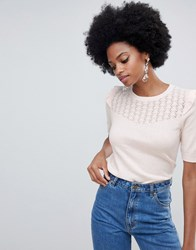 Oasis Pointelle Knitted 3 4 Sleeve Top In Pink