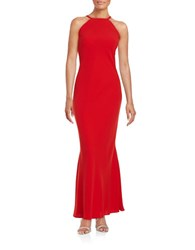 Calvin Klein Crepe Column Gown Red