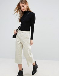Asos Cropped Wide Leg Pants With Raw Hem Green