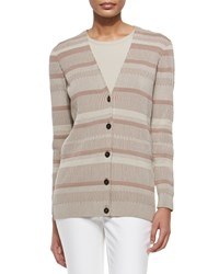 Lafayette 148 New York Long Sleeve V Neck Cardigan Khaki Multi