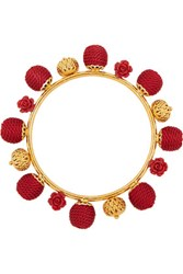 Dolce And Gabbana Gold Plated Resin Woven Bangle Red