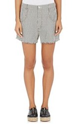 T By Alexander Wang Women's Striped Frayed Shorts White