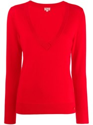 Temperley London Ribbed V Neck Top Red