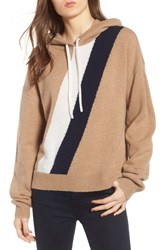 Juicy Couture Stripe Cashmere Hoodie Camel Pure White City