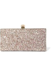 Jimmy Choo Celeste Glittered Leather Clutch Pink