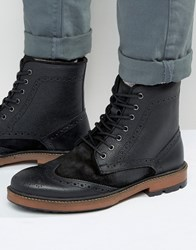 Frank Wright Brogue Boots In Black Suede And Leather Black