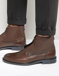 Hugo Boss Orange Cultroot Leather Lace Up Boots Brown