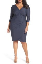 Alex Evenings Plus Size Women's Embellished Side Ruched Cocktail Dress Charcoal