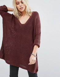 Noisy May Deep V Neck Oversize Knit Jumper Decadent Chocolate Brown