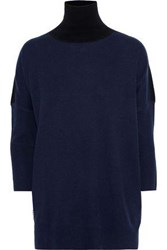 Amanda Wakeley Woman Two Tone Cashmere And Wool Blend Turtleneck Sweater Midnight Blue