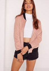 Missguided Contrast Rib Faux Suede Bomber Jacket Pink Pink